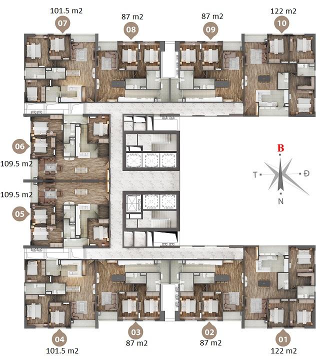 Mặt bằng chung cư Phú Mỹ N01T4