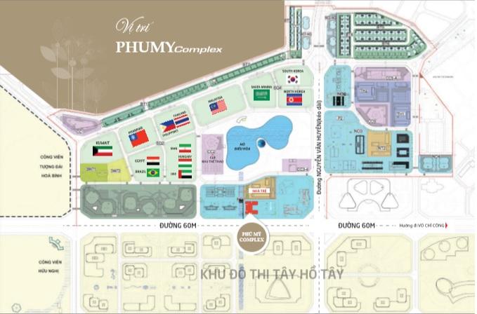 Vị trí chung cư Phú Mỹ Complec N01T4 Ngoại giao đoàn