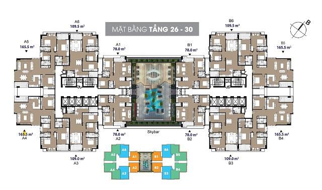 Mặt bằng chung cư The Legend 109 Nguyễn Tuân tầng 26-30