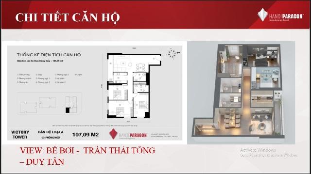 Mặt bằng căn hộ 3 ngủ loại A 101.7m2 chung cư Paragon Phạm hùng