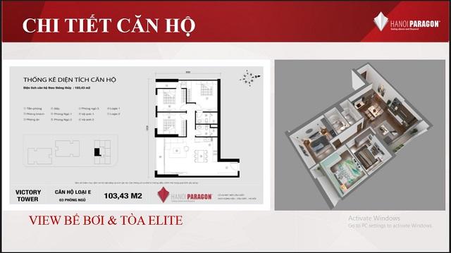 Mặt bằng căn hộ 3 ngủ loại E 103.4m2 chung cư Paragon Phạm hùng