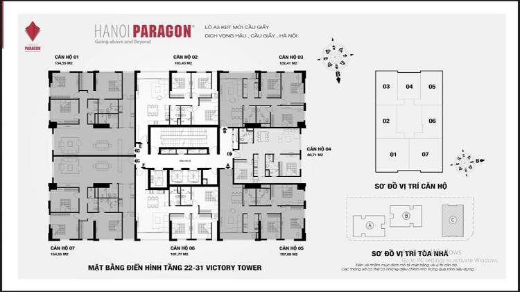 Mặt bằng tổng quan Chung cư Paragon Tòa Victory tầng 22-31