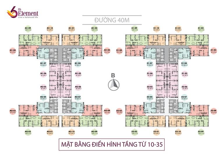 Mặt bằng thiết kế chung cư 6th Element Tầng 10-35