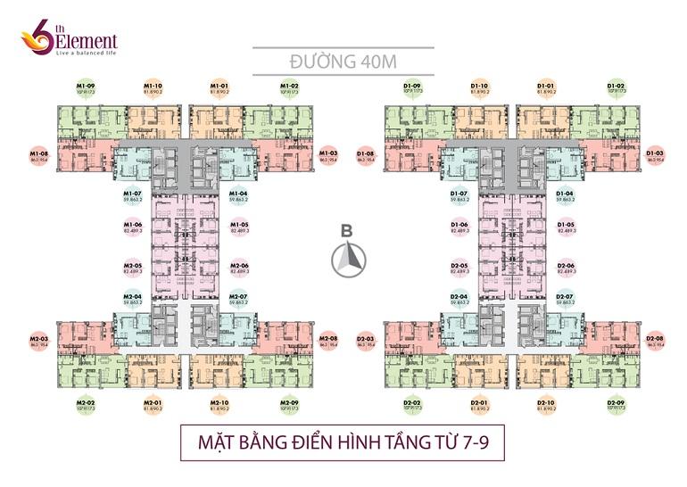 Mặt bằng thiết kế chung cư 6th Element Tầng 7-9