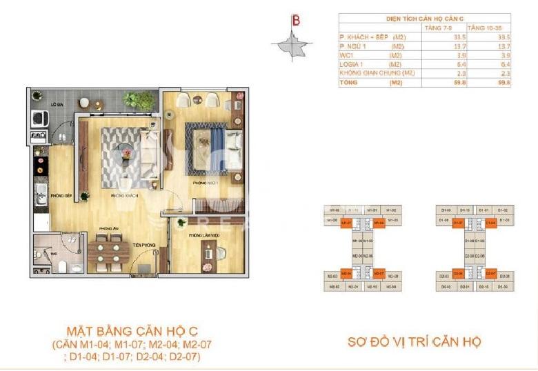 Thiết kế căn hộ 1+1 ngủ (59m2)