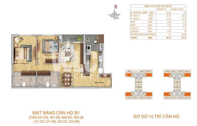 Thiết kế căn hộ 2 ngủ loại B1