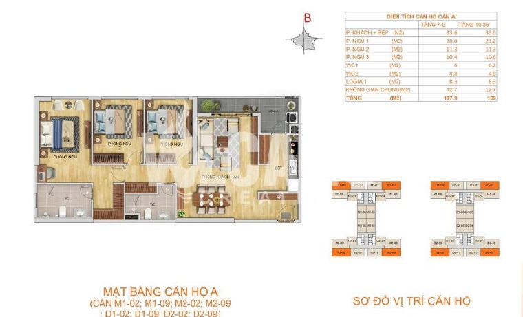 Thiết kế căn hộ 3 ngủ loại A