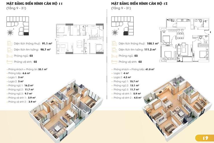 Thiết kế căn hộ chung cư Golden Park tower 3
