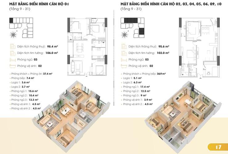 Thiết kế căn hộ chung cư Golden Park tower 1
