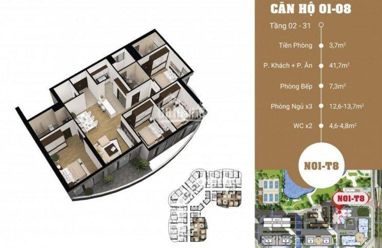 Mặt bằng căn 01-08 diện tích 136m2 4 phòng ngủ chung cư N01T8 Ngoại giao đoàn