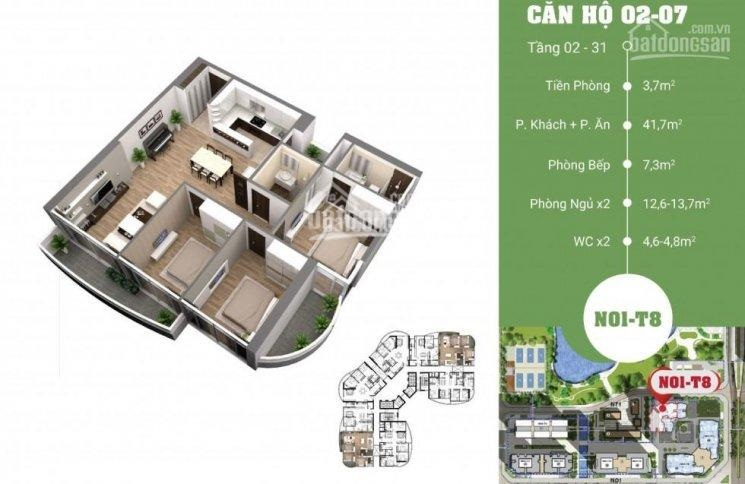 Mặt bằng căn 02-07 diện tích 122m2 3 phòng ngủ chung cư N01T8 Ngoại giao đoàn