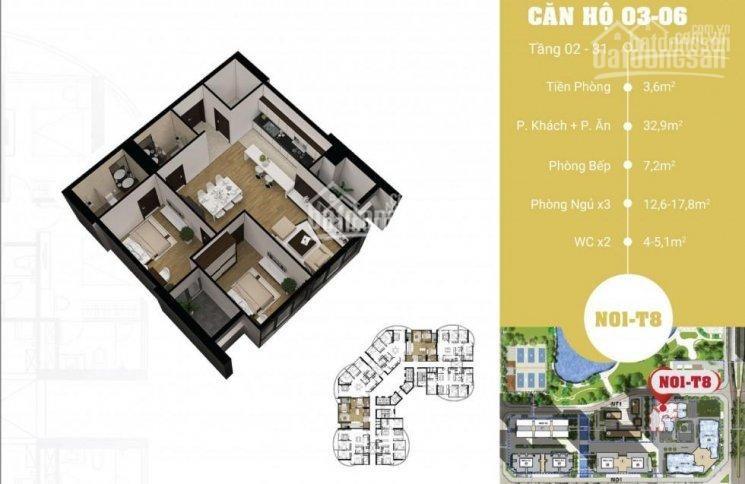 Mặt bằng căn 03-06 diện tích 93.3m2 2 phòng ngủ chung cư N01T8 Ngoại giao đoàn