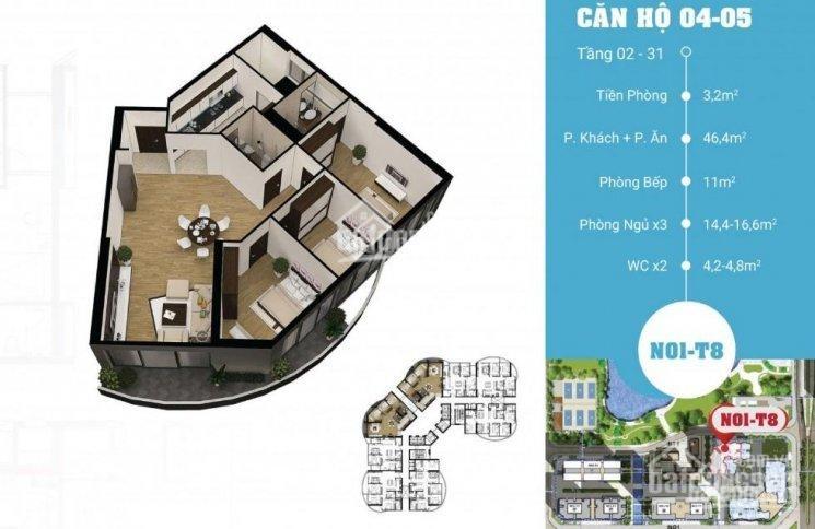 Mặt bằng căn 04-05 diện tích 130m2 3 phòng ngủ chung cư N01T8 Ngoại giao đoàn