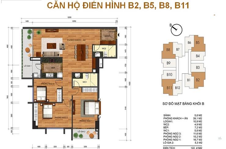 Mặt bằng căn 122m2 chung cư Thống nhất complex Nguyễn Tuân
