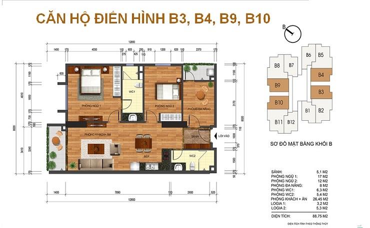 Mặt bằng căn 88m2 chung cư Thống nhất complex Nguyễn Tuân