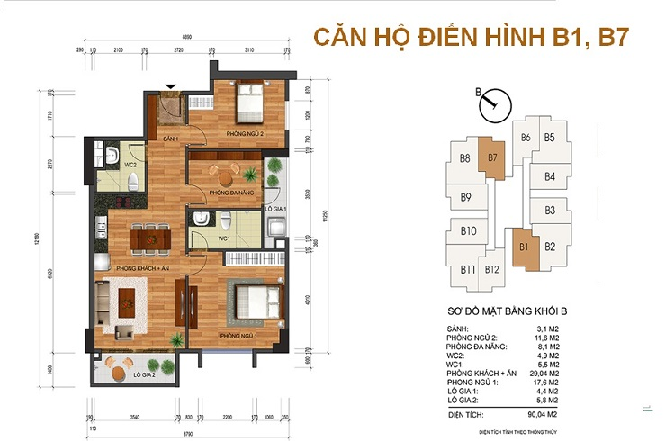 Mặt bằng căn 90m2 chung cư Thống nhất complex Nguyễn Tuân