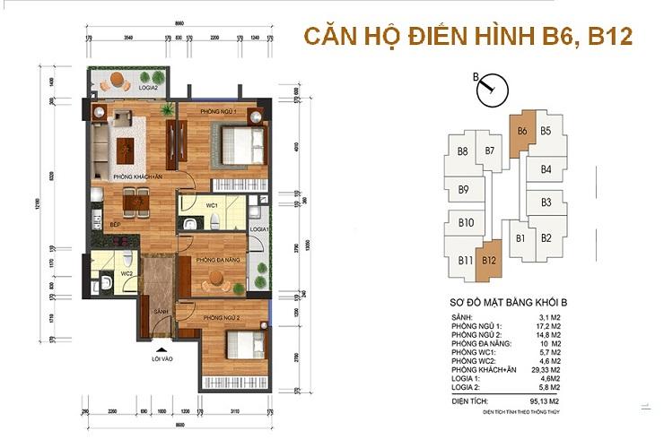 Mặt bằng căn 95m2 chung cư Thống nhất complex Nguyễn Tuân