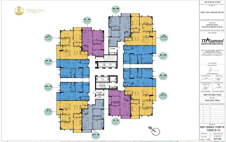 Mặt bằng điển hình tòa B chung cư Thống nhất complex Nguyễn Tuân