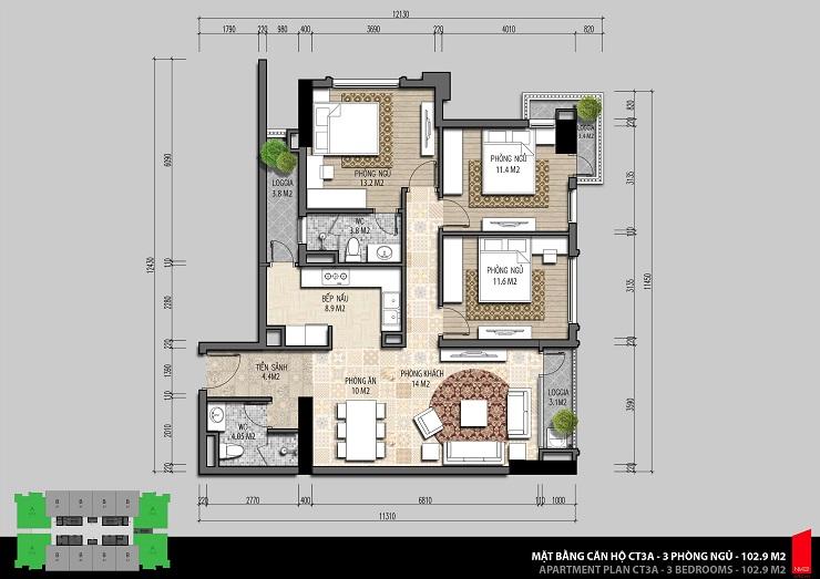 Thiết kế căn hộ 102m2