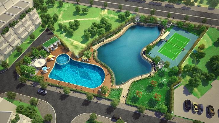 Khu bể bơi và hồ nước điều hòa cũng là điểm nhấn của tiện ích liền kề biệt thự Eden rose thanh trì
