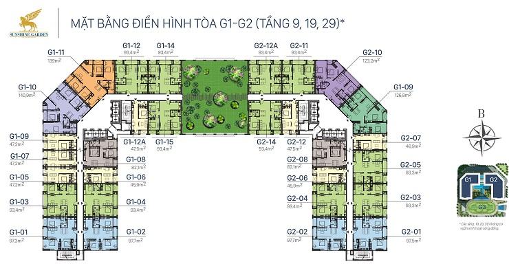 Mặt bằng thiết kế Sunshine garden Minh khai tầng 9, 19, 29