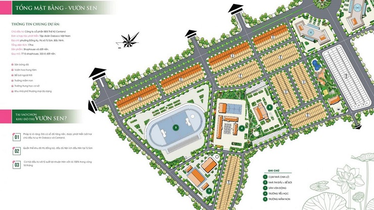 Mặt bằng vườn sen Đồng Kỵ Lotus Garden bắc Ninh