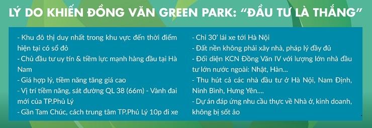 Các lý do đầu tư tại Khu đô thị Đồng Văn Green Park Kim Bảng Hà Nam
